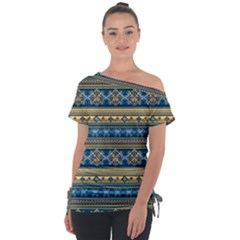 Vintage Border Wallpaper Pattern Blue Gold Tie Up Tee