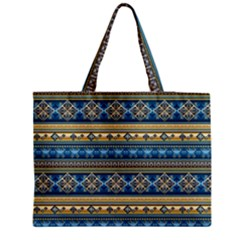 Vintage Border Wallpaper Pattern Blue Gold Medium Tote Bag by EDDArt