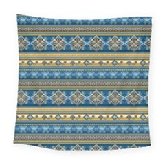 Vintage Border Wallpaper Pattern Blue Gold Square Tapestry (large) by EDDArt