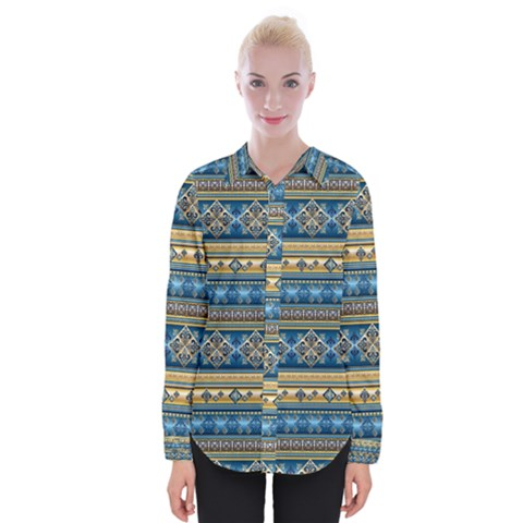 Vintage Border Wallpaper Pattern Blue Gold Womens Long Sleeve Shirt by EDDArt
