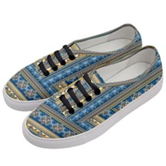 Vintage Border Wallpaper Pattern Blue Gold Women s Classic Low Top Sneakers by EDDArt