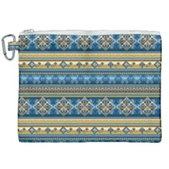 Vintage Border Wallpaper Pattern Blue Gold Canvas Cosmetic Bag (xxl) by EDDArt
