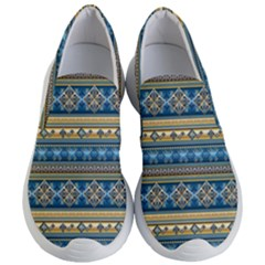 Vintage Border Wallpaper Pattern Blue Gold Women s Lightweight Slip Ons by EDDArt