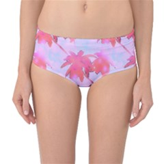 Palm Trees Paradise Pink Pastel Mid Waist Bikini Bottoms by CrypticFragmentsColors