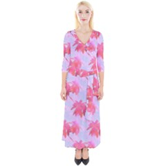 Palm Trees Paradise Pink Pastel Quarter Sleeve Wrap Maxi Dress by CrypticFragmentsColors