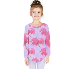 Palm Trees Paradise Pink Pastel Kids  Long Sleeve Tee