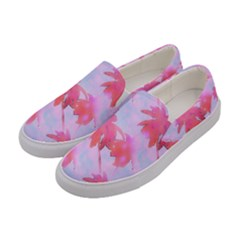 Palm Trees Paradise Pink Pastel Women s Canvas Slip Ons by CrypticFragmentsColors