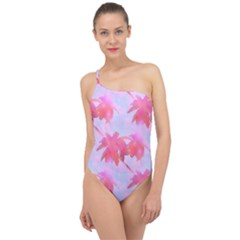 Palm Trees Paradise Pink Pastel Classic One Shoulder Swimsuit by CrypticFragmentsColors