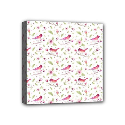 Watercolor Birds Magnolia Spring Pattern Mini Canvas 4  X 4  by EDDArt