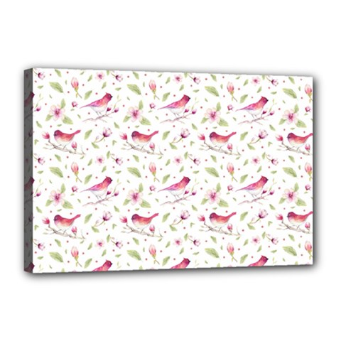 Watercolor Birds Magnolia Spring Pattern Canvas 18  X 12  by EDDArt