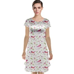 Watercolor Birds Magnolia Spring Pattern Cap Sleeve Nightdress by EDDArt