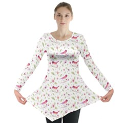 Watercolor Birds Magnolia Spring Pattern Long Sleeve Tunic  by EDDArt