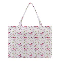 Watercolor Birds Magnolia Spring Pattern Medium Tote Bag by EDDArt