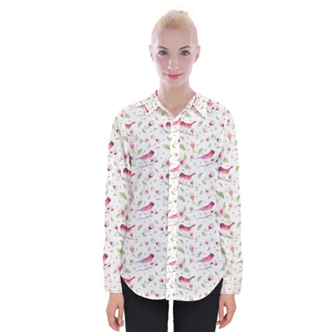 Watercolor Birds Magnolia Spring Pattern Womens Long Sleeve Shirt by EDDArt