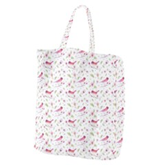 Watercolor Birds Magnolia Spring Pattern Giant Grocery Tote by EDDArt