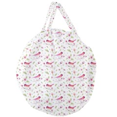 Watercolor Birds Magnolia Spring Pattern Giant Round Zipper Tote by EDDArt