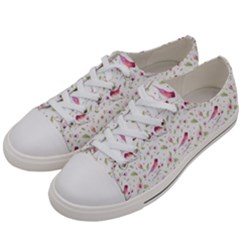 Watercolor Birds Magnolia Spring Pattern Women s Low Top Canvas Sneakers by EDDArt