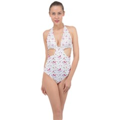 Watercolor Birds Magnolia Spring Pattern Halter Front Plunge Swimsuit by EDDArt