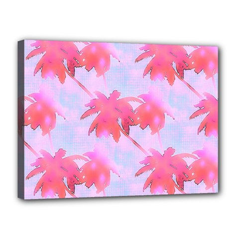 Palm Trees Paradise Pink Pastel Canvas 16  X 12  by CrypticFragmentsColors