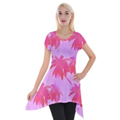 Palm Trees Pink Paradise Short Sleeve Side Drop Tunic by CrypticFragmentsColors