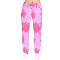 Palm Trees Pink Paradise Velvet Drawstring Pants by CrypticFragmentsColors