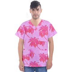 Palm Trees Pink Paradise Men s V-neck Scrub Top