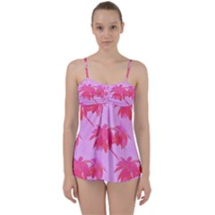 Palm Trees Pink Paradise Babydoll Tankini Set by CrypticFragmentsColors