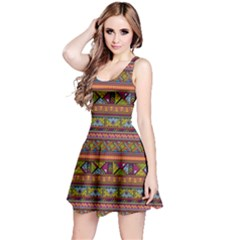 Traditional Africa Border Wallpaper Pattern Colored 2 Reversible Sleeveless Dress by EDDArt