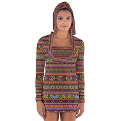 Traditional Africa Border Wallpaper Pattern Colored 2 Long Sleeve Hooded T-shirt by EDDArt