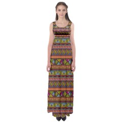 Traditional Africa Border Wallpaper Pattern Colored 2 Empire Waist Maxi Dress by EDDArt