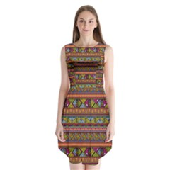 Traditional Africa Border Wallpaper Pattern Colored 2 Sleeveless Chiffon Dress   by EDDArt