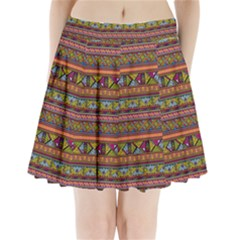 Traditional Africa Border Wallpaper Pattern Colored 2 Pleated Mini Skirt by EDDArt