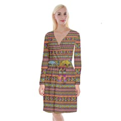 Traditional Africa Border Wallpaper Pattern Colored 2 Long Sleeve Velvet Front Wrap Dress by EDDArt