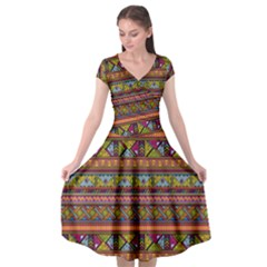 Traditional Africa Border Wallpaper Pattern Colored 2 Cap Sleeve Wrap Front Dress by EDDArt