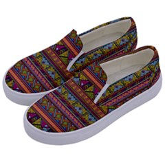 Traditional Africa Border Wallpaper Pattern Colored 2 Kids  Canvas Slip Ons by EDDArt