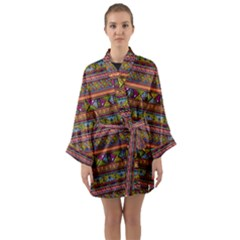 Traditional Africa Border Wallpaper Pattern Colored 2 Long Sleeve Kimono Robe by EDDArt