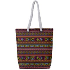 Traditional Africa Border Wallpaper Pattern Colored 2 Full Print Rope Handle Tote (small) by EDDArt