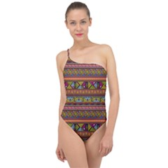 Traditional Africa Border Wallpaper Pattern Colored 2 Classic One Shoulder Swimsuit by EDDArt