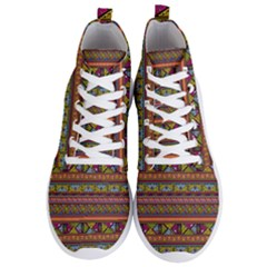 Traditional Africa Border Wallpaper Pattern Colored 2 Men s Lightweight High Top Sneakers