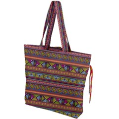 Traditional Africa Border Wallpaper Pattern Colored 2 Drawstring Tote Bag by EDDArt