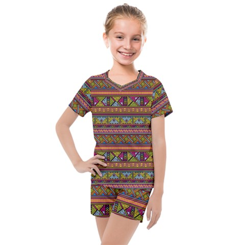 Traditional Africa Border Wallpaper Pattern Colored 2 Kids  Mesh Tee And Shorts Set by EDDArt