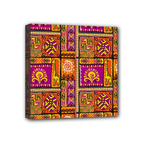 Traditional Africa Border Wallpaper Pattern Colored 3 Mini Canvas 4  X 4  by EDDArt