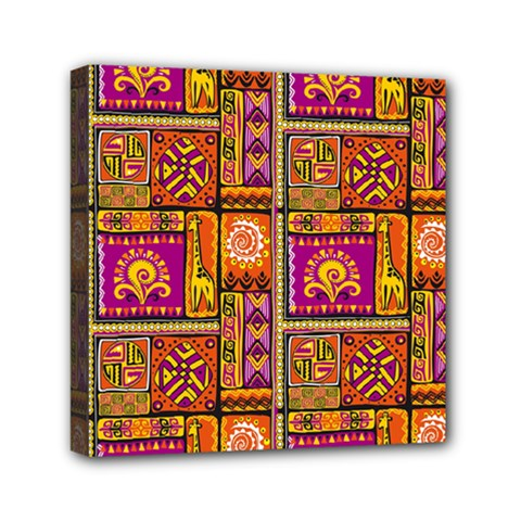 Traditional Africa Border Wallpaper Pattern Colored 3 Mini Canvas 6  X 6  by EDDArt