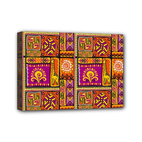 Traditional Africa Border Wallpaper Pattern Colored 3 Mini Canvas 7  X 5  by EDDArt