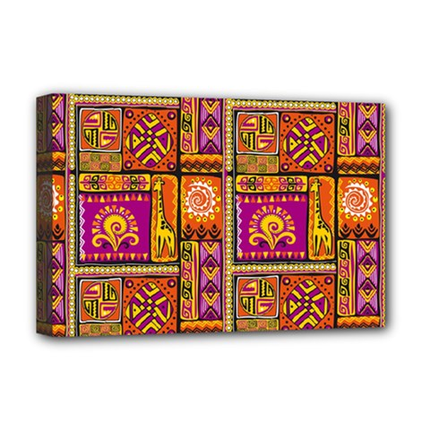 Traditional Africa Border Wallpaper Pattern Colored 3 Deluxe Canvas 18  X 12   by EDDArt