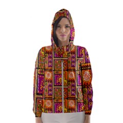 Traditional Africa Border Wallpaper Pattern Colored 3 Hooded Windbreaker (women) by EDDArt