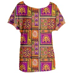 Traditional Africa Border Wallpaper Pattern Colored 3 Women s Oversized Tee by EDDArt