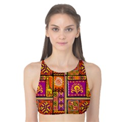 Traditional Africa Border Wallpaper Pattern Colored 3 Tank Bikini Top by EDDArt