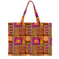 Traditional Africa Border Wallpaper Pattern Colored 3 Zipper Large Tote Bag by EDDArt
