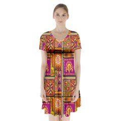 Traditional Africa Border Wallpaper Pattern Colored 3 Short Sleeve V Neck Flare Dress by EDDArt